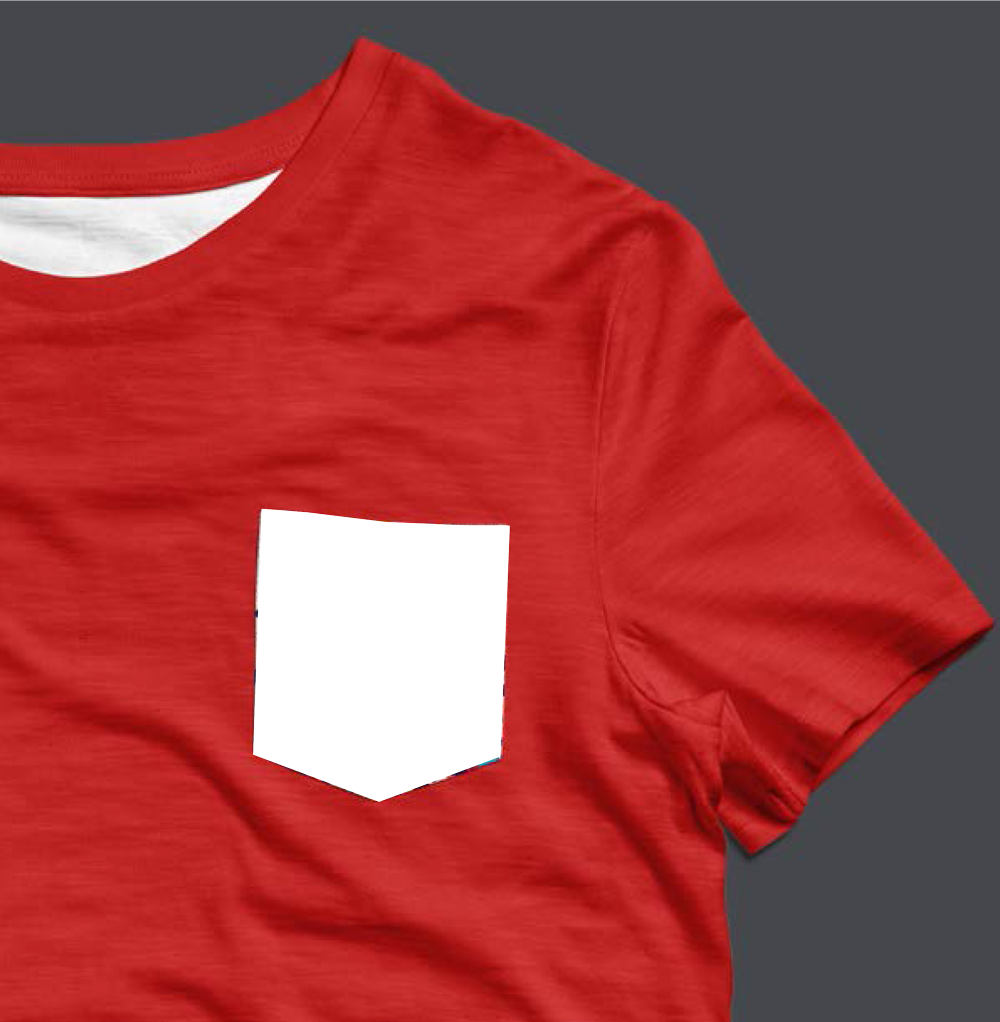 Tee Shirt poche personnalisable rouge
